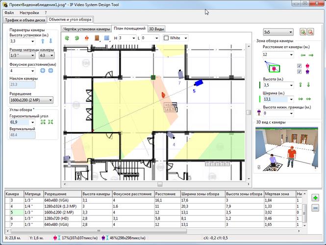 Пример проекта системы видеонаблюдения, созданного в программе JVSG